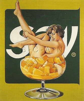 1960s Style Nude Pinup Artistic PC- Mel Ramos- Legs- Woman in Fruits Salad