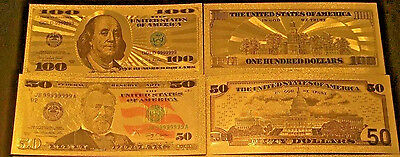 7PCS GOLD LEAF COLORIZED BANKNOTE SET $100, $50,$20,$10,$5,$2,$1 - BANKNOTE wtf