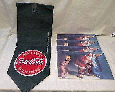 Coca-Cola table runner - 4 Coke Santa Claus placemats