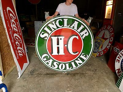 Original 1930's Porcelain Sinclair HC Gasoline Advertising Sign With Ring A+