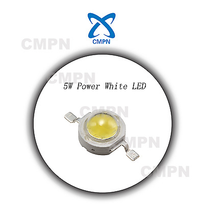 5Pcs 5W High Power White Light Lamp 6000-6500k LED Buld Beads Diodes SMD Chip