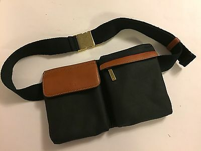 New G.I.L.I. Black Canvas Fanny Pack with Brown Leather Trim