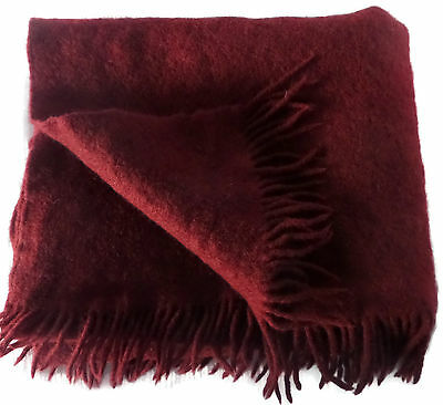 Pure New Virgin Wool Burgundy Blanket 62 x 35 Throw Thick Fringed Germany