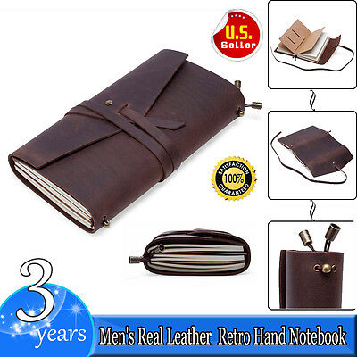 Leather Cover Notebook Handmade Diaries Gift Book Journal Travel Record Notepad
