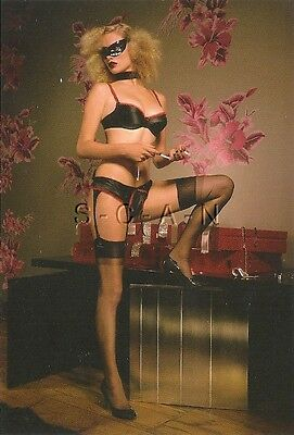 Original Semi Nude UK Pinup PC- Tim Brett- Cat Burglar- Stockings- Garter- Mask