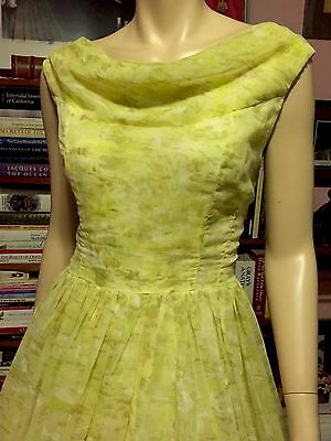 Vintage 1950s FERMAN O'GRADY Lemon Lime Satin Chiffon Party Dress Full Skirt