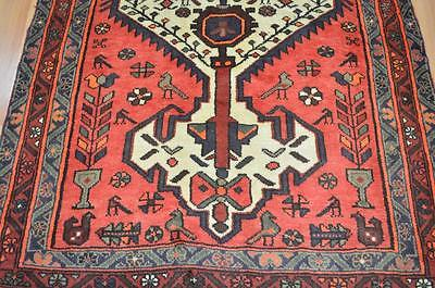 4'1x6'9 Fine Quality Genuine Amazing Persian Tribal Hand Knotted Animal Bird Rug