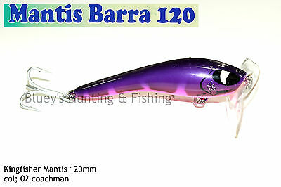 Kingfisher Mantis Barra 120mm Cod surface fishing lure; 02 coachman NEW 2017