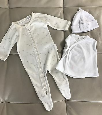 Pure Baby Newborn White Infant Set Romper Top Size 0000 Hat RRP $60
