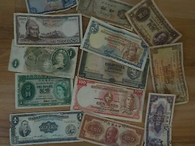 LOT of 13 Vintage Foreign Paper Currency - England, Hong Kong, China, more