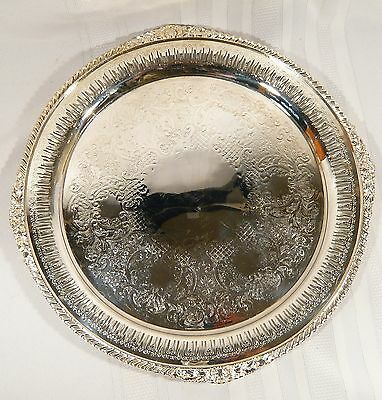 """Benedict & Proctor PIERCED Silver Plate Round 15"""" TRAY Old English Reticulated"""