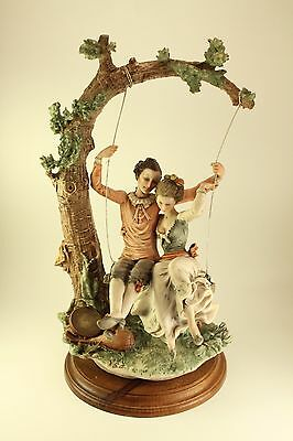 Vtg Giuseppe Armani Capodimonte Courting Couple Young Lovers on a Swing Signed