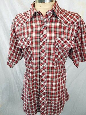 Vintage Red White Plaid Poly/Cotton Ambassador Short Sleeve Western Shirt XL