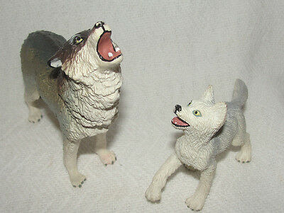 TIMBER WOLF & Cub Pup SAFARI LTD TOY Figure Wolves Animal Vintage 1990
