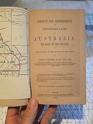 1857 Antique book, Freedom and independence.. of Australia Early colonial Map