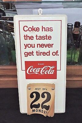 "Original 1970's Coca Cola Wall Calendar Sign Pad  "" Things Go Better With Coke """