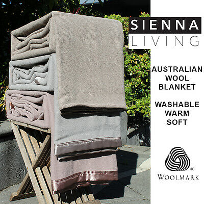 NEW Washable 400gsm AUSTRALIAN WOOL BLANKET Single Double Queen King Size