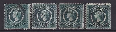 NSW 1860-86 5d Green QV DIADEM STAMPS X4  USED  (DD64)