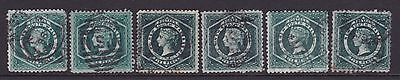 NSW 1860-86 5d Green QV DIADEM STAMPS X6 FINE USED  (DD64)