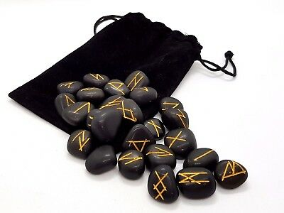 RUNE SET, Black Agate Crystal Divination Includes Plush Pouch - NEW