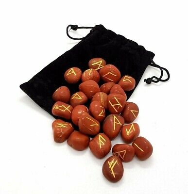 RUNE SET, Red Jasper Crystal Divination Includes Plush Pouch - NEW