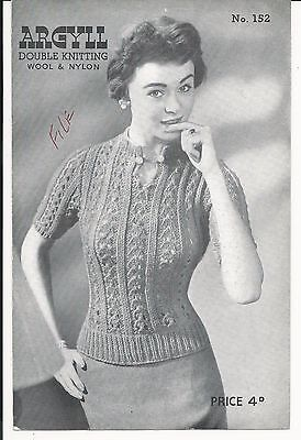 ORIGINAL VINTAGE KNITTING PATTERN Ladys LACY JUMPER / TOP sweater