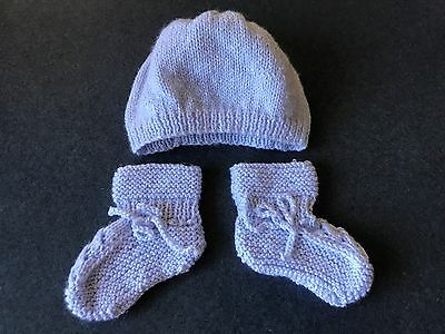 Baby Girl Newborn Lavender Knitted Beanie Hat with Matching Booties