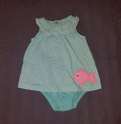 VGUC Carters Baby Girl Clothes 9 Months One Piece Sleeveless Fish Dress Romper