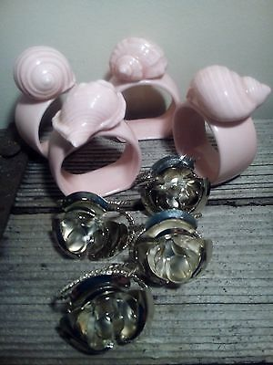 Collectable Vintage Napkin Rings X2 Sets of 4 Ceramic Shells Silver Roses
