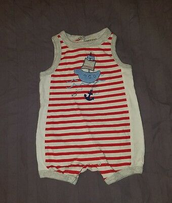 EUC Absorba Baby Boy Clothes 3-6 Months One Piece Sleeveless Pirate Romper