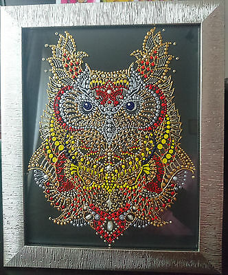 Original Pointillism Art 'Royal Owl' Acrylic Painting on Glass New Hand Painted