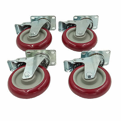 "Set of 4 Plate Caster with 5"" Polyurethane Wheels All Swivel All Brake Casters"