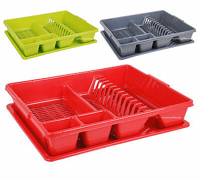Plastic Large Dish Drainer Drip Tray Kitchen Sink Rack Plate Cutlery Holder