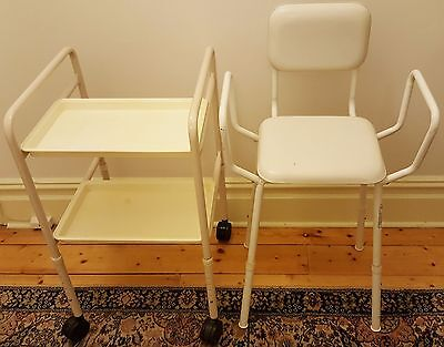 Mobility Shower Bath Chair & Mobile Trolley Adjustable Legs
