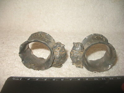 Vintage Napkin Rings Lead or Pewter Bird? Antique Collectible