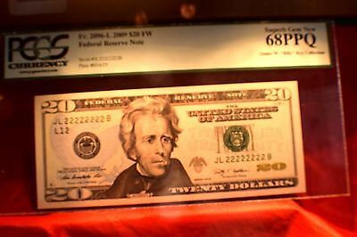 2009 Federal Reserve $20.00 Serial Number All 2'S JL222222B Grade PCGS 68PPQ