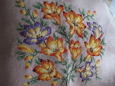 Vintage hand worked tapestry of crocus cushion front or picture