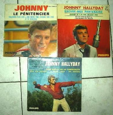Johnny Halliday lot disques vinyle 45 tours