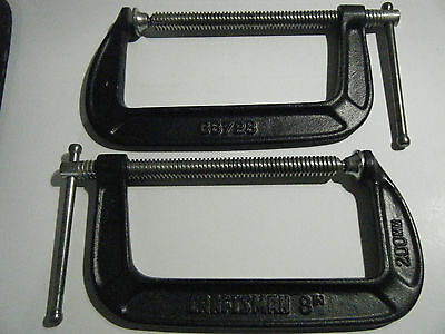 "PAIR (2) CRAFTSMAN 66728 8"" 200mm Ductile Iron C-Clamps, HEAVY DUTY, USA, NOS"