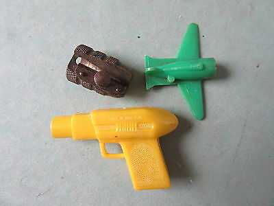 3 Old Vintage Pencil Sharpeners Plastic & Brass Airplane Gun