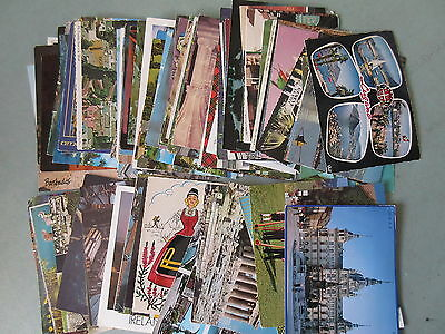 100 Vintage Modern Postcards 1960-1990 Europe Canada USA Postally Used