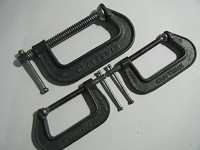 "THREE (3) CRAFTSMAN Ductile Iron C-Clamps (1) 66674 4"", (2) 66673 3"", USA"