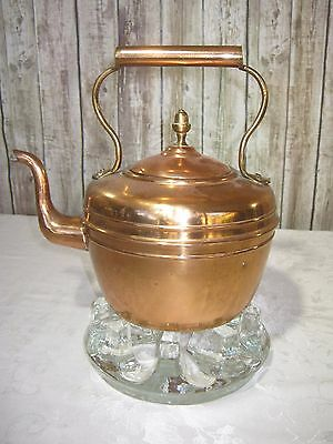 Beautiful Antique Large Copper & Brass Kettle with Acorn Finial & Gooseneck