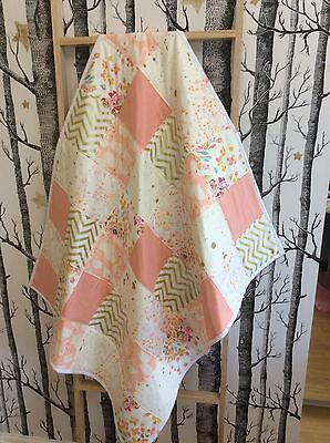 Baby Girl Swan Peach Gold Hand Made Patchwork Cot / Toddler Quilt