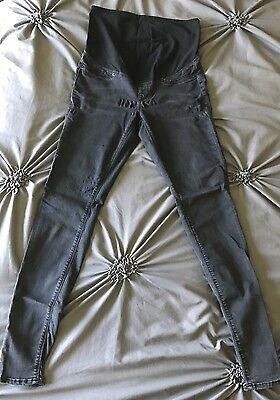 Womens H&M Maternity Super Skinny Black Gray Jeggings Jeans Size 8 Stretchy