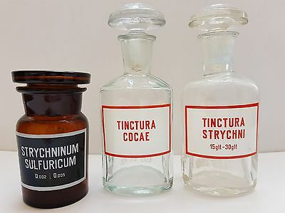 Set of 3 Vintage Brown/Clear Glass Apothecary Pharmacy Jars/Bottles x50, x100 ml