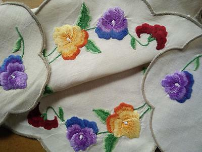 Sweet Pansies ~ 3 Piece Vintage Duchess Set/ Dressing Table Set Embroidered