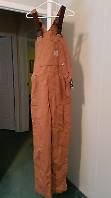 Mens Carhartt Flame-Resistant Duck Unlined Bib Brown 36x34