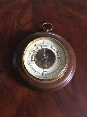 """Vintage Barometer Made In Germany By Jason 6"""" W Wood Brass Glass"""