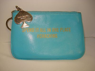 Kate Spade Turquoise Leather Zip Top Coin Case/pouch Keyring #chaching